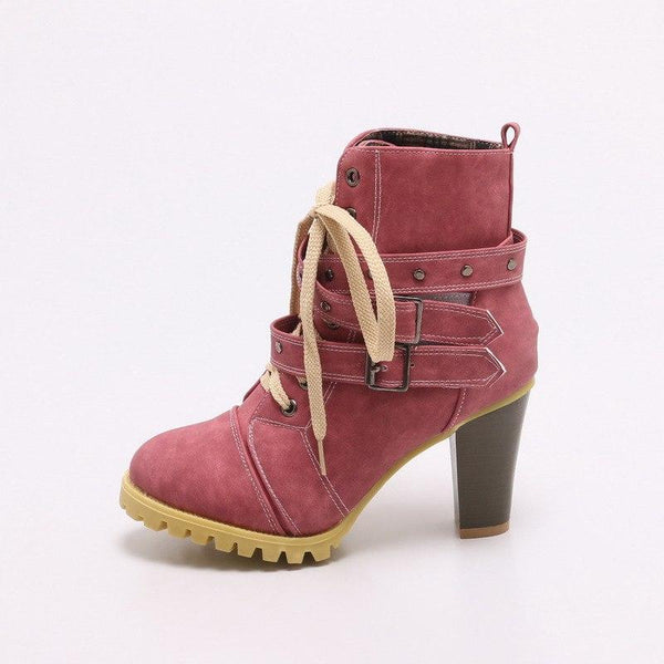 Women's Boots - Fashion Round Toe Buckle Rivet Style Heeled Boots