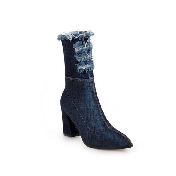 Boot - New Arrival Pointed Toe Denim Boots