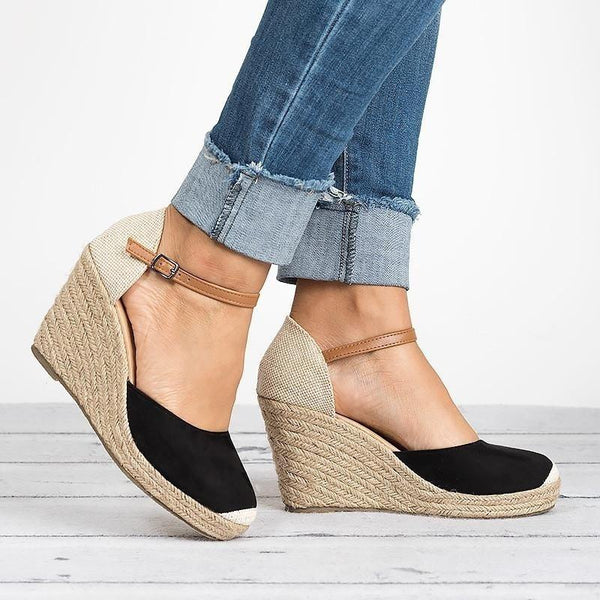 Shoes - 2018 Fashion Summer Women Wedge Espadrilles Casual Buckle Strap High Heel Shoes