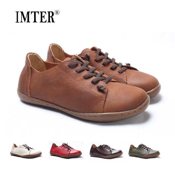 100% Authentic Leather Plain Toe Lace up Ladies' Flats