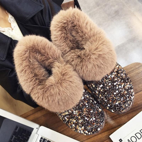 Boot - Glittering Shiny Women Winter Warm Hairy Ankle Boots