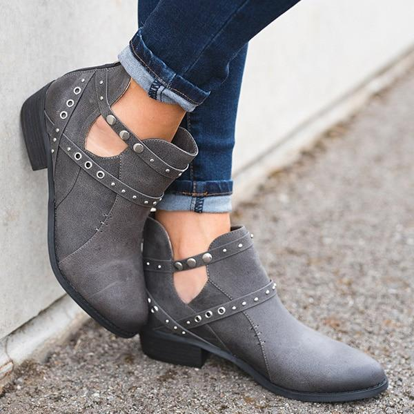 Women's Shoes - High Quality Buckle Solid Boots