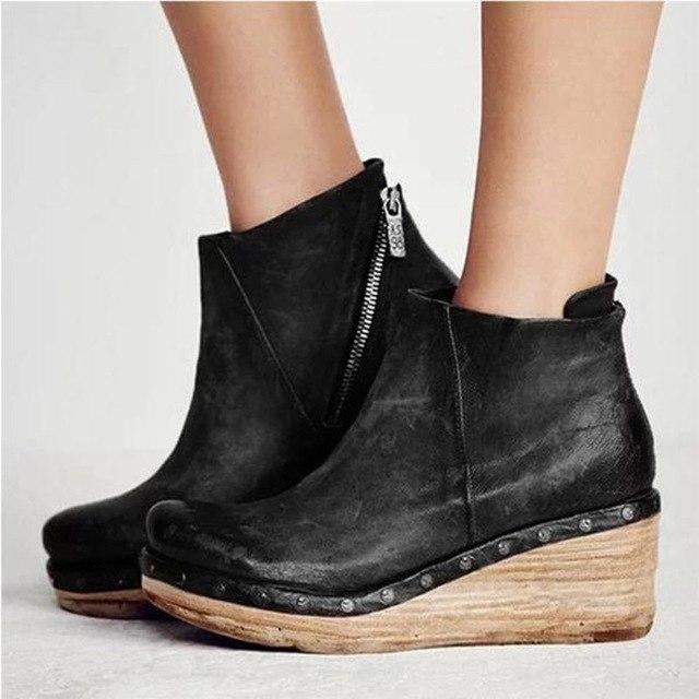 Women's Shoes - Fashion Leather Slope Heel Wadge Boots
