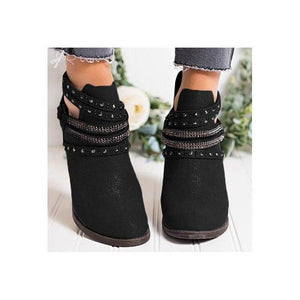 Vintage Chunky Low Heel Short Ankle Booties Boots