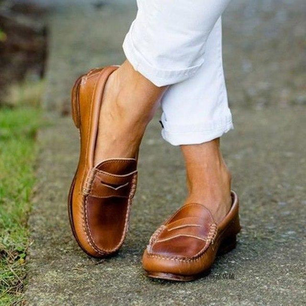 Women Shoes - Women Mocassin Light Leather Elegant Low Heels Slip On Shoes