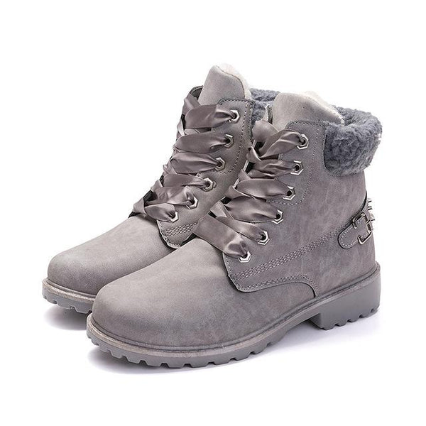 Women's Shoes - Fall/Winter Fashion Plush Lace Up Booties