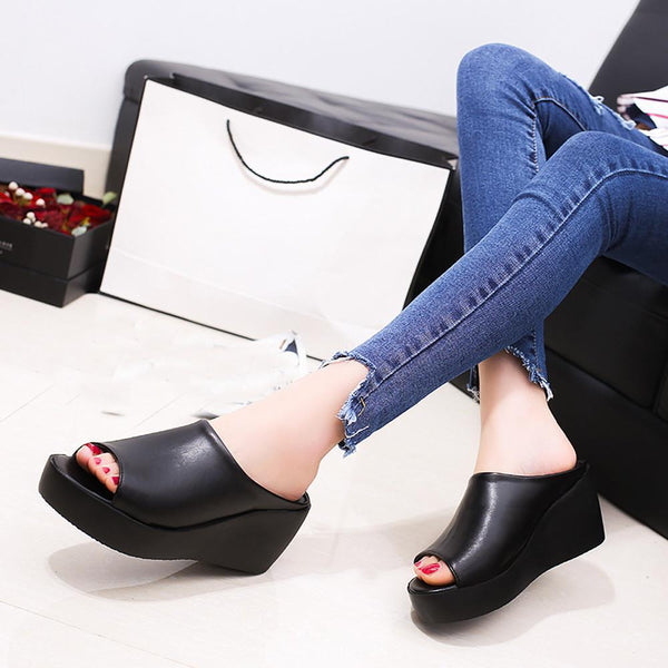 Women's Shoes - Leisure Fish Mouth Thick Bottom Slippers