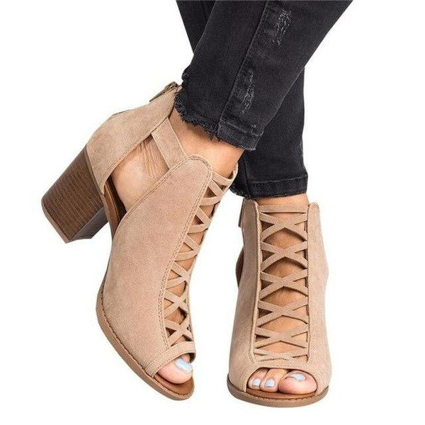 Women's Shoes - Women Chunky Gladiator High Heel Shoes