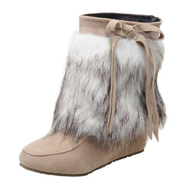 2019 NEW Woman Suede Plush Warm Wedges Boots