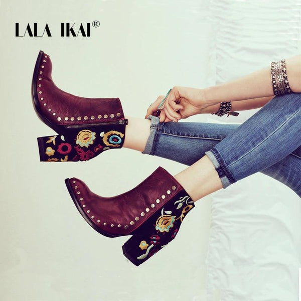 Women Zipper Rivet Flower Embroider Ankle Boots