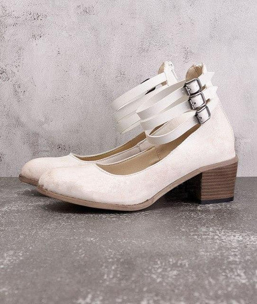 Women's Shoes - Fashion Leather Buckle Heels