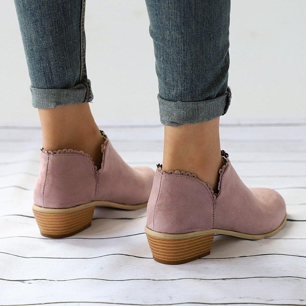 Women's Shoes - Autumn Fashion Women Lace Edge Suede Martin Boots