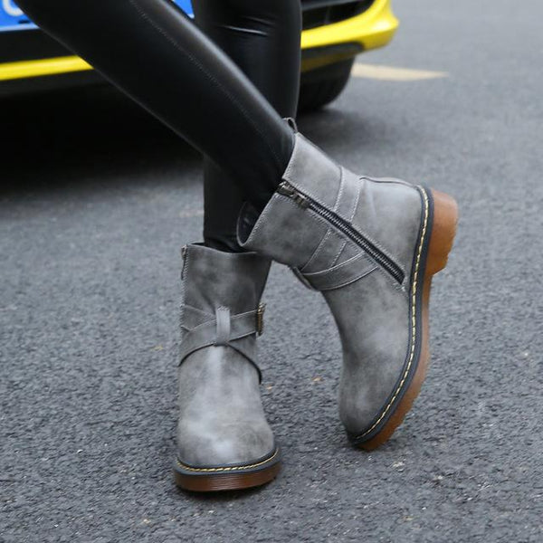 Women Shoes - Genuine Leather Boots Round Toe Zipper Ankle Boots