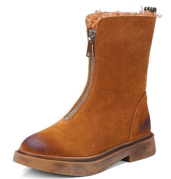 Women Boots - Fashion Zip Open Outdoor Leather Cute Boots