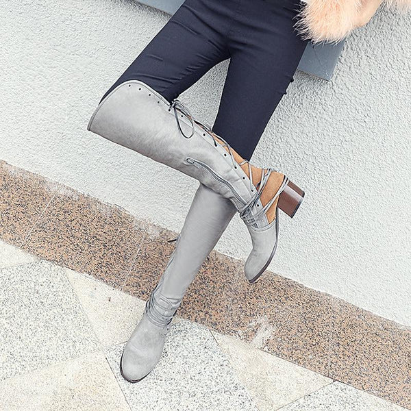 Women Winter Casual Vintage Leather Riding Boots