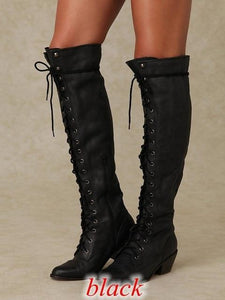 Women's Shoes - Fashion Women's Retro Cross Tied Over The Knee Boots
