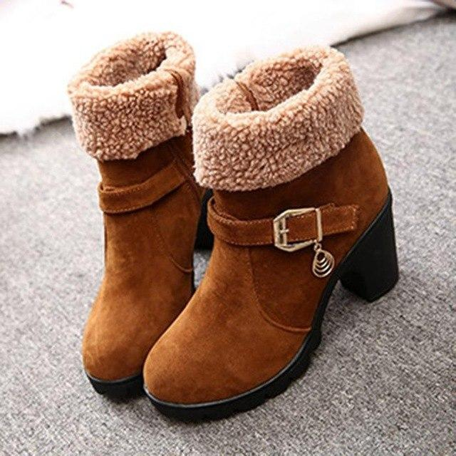 Women's  Slip-On Ankle Chunky Heel Suede Boots