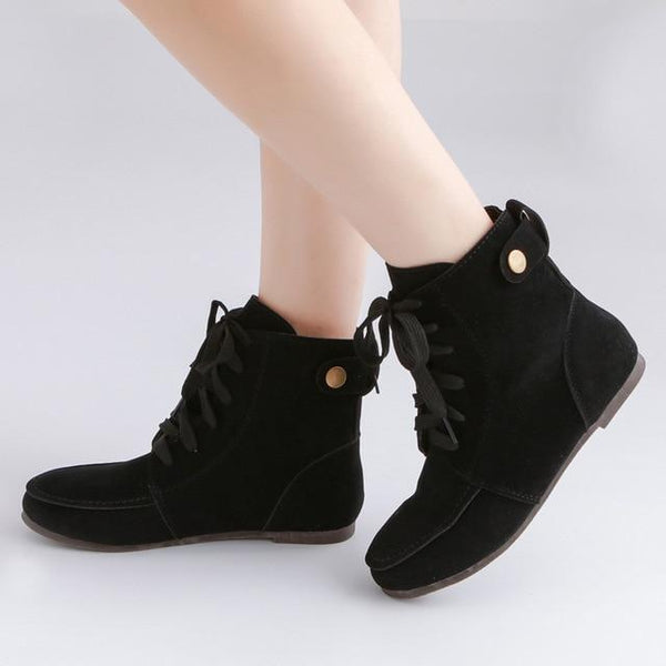 Fashion Lace Up Casual Comfortable Flats Platform Boots