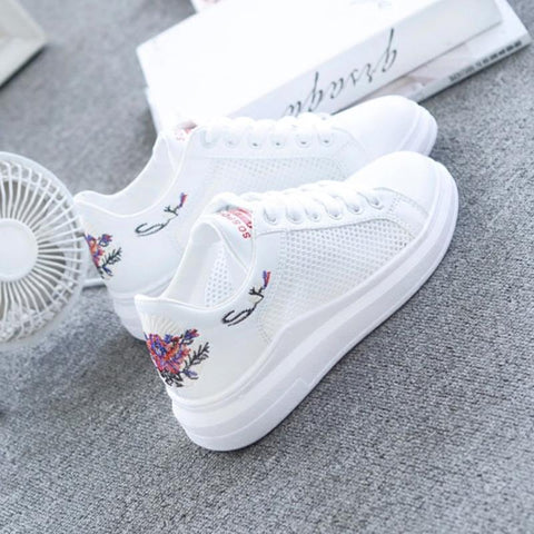 Women's Shoes - Embroidered Breathable Hollow Lace-Up Women's Sneakers