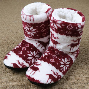 Women's Shoes -  Winter Warm Cotton Plush Insole Christmas Elk Socks Home Slippers