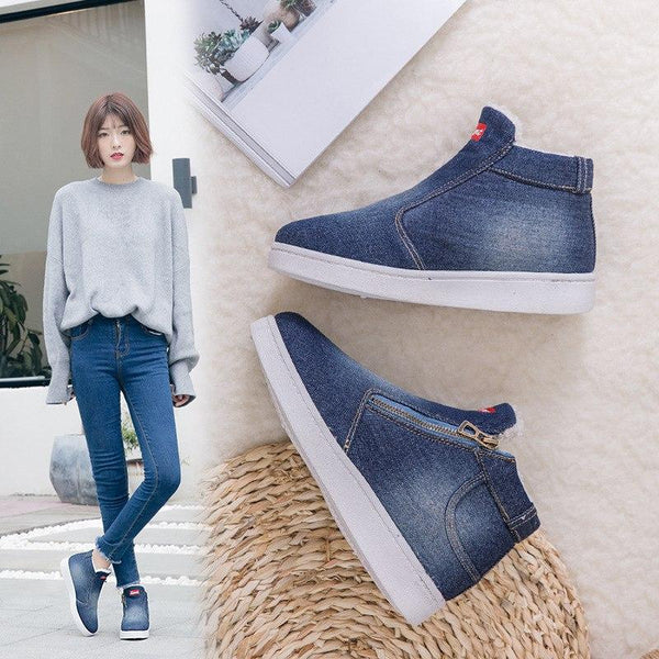 Women's Shoes - Fall/Winter Collection Denim Fur Zipper Sneakers