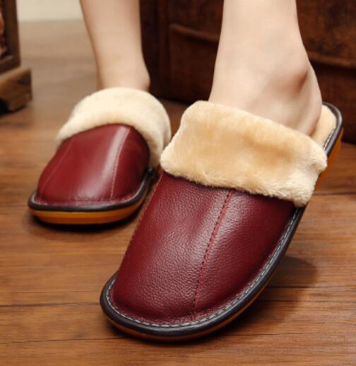 Winter Warm Waterproof Home Leather Slippers
