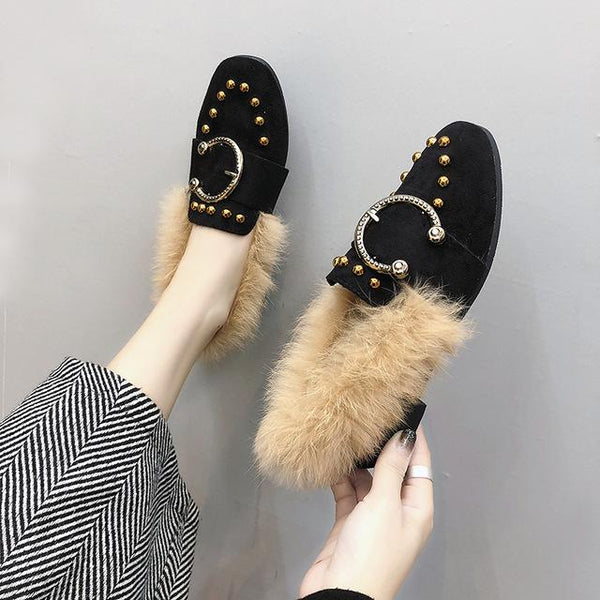 Shoes - Winter Plush Loafer Woman Shoes