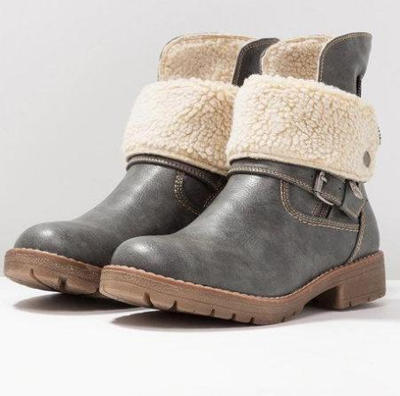 Women's Shoes-2019 Women Fur Warm Retro Leather Martin Ankle Boots
