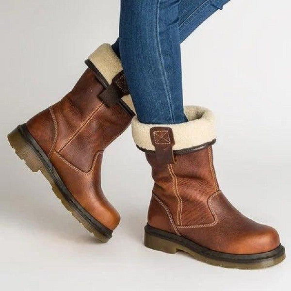 2019 Winter Women Vintage Leather Warm Boots