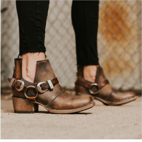 Women's Shoes - Fashion Women's Vintage Mid Heels Buckle Strap Ankle Boots