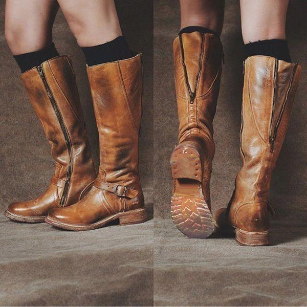 Women Artificial Leather Zipper Daily Vintage Boots