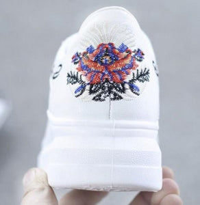 Women's Shoes - Embroidered Breathable Hollow Lace-Up Sneakers