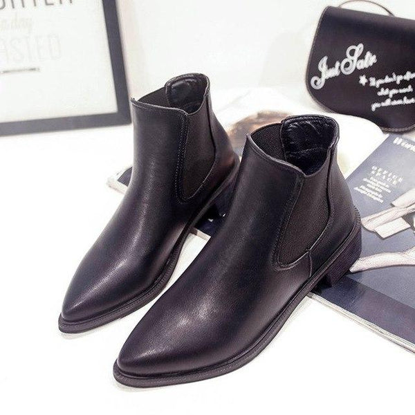 Women's Shoes - New European Pointy Chunky England Chelsea Boots