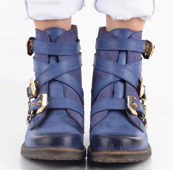 Women Fashion Vintage Leather Ankle Boots