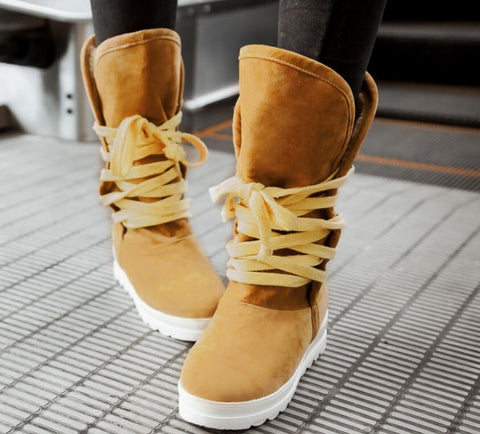 Shoes - Women's Faux Suede Lace-up Snow Boots