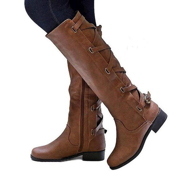 Women's Shoes - Fashion Knee High Martin Booties For Ladies