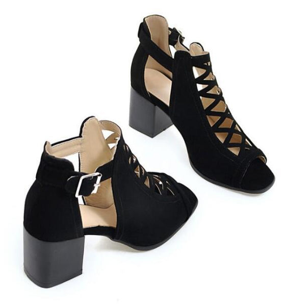Shoes - Ladies Chunky High Heels Shoes