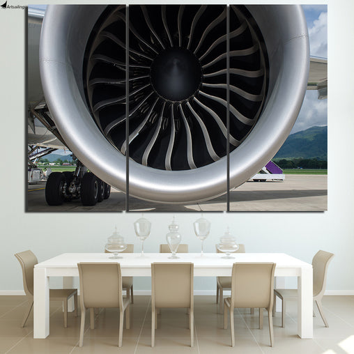 3 Piece Canvas Art of Aircraft Engine