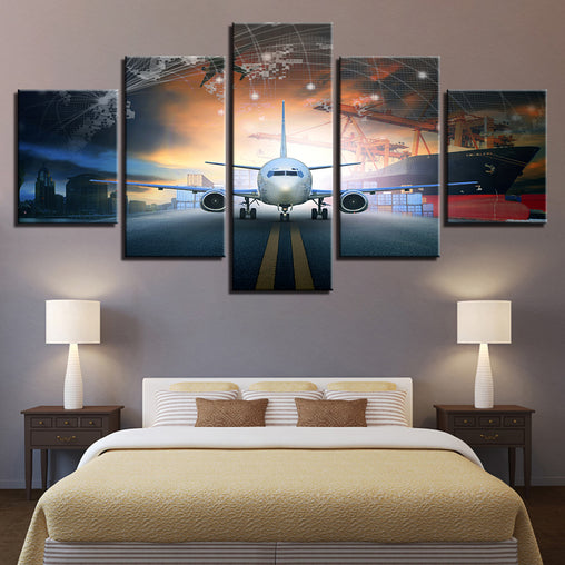 5 Piece Aviation Canvas Painting