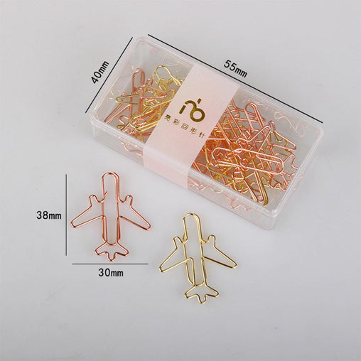 12 x PCS Golden Airplane Paper Clips