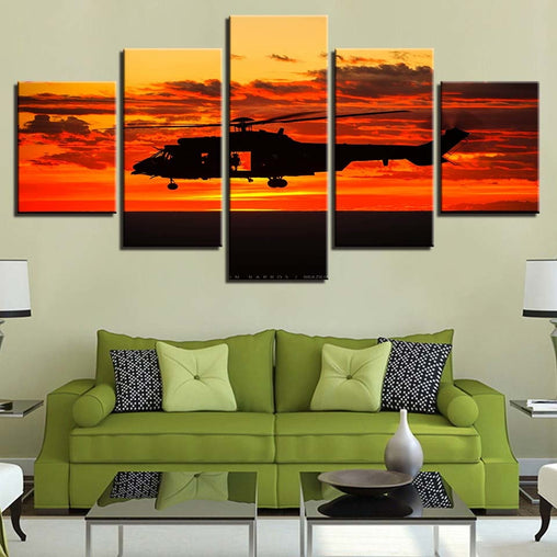 5 Pieces Helicopter Sunset Poster Wall Art