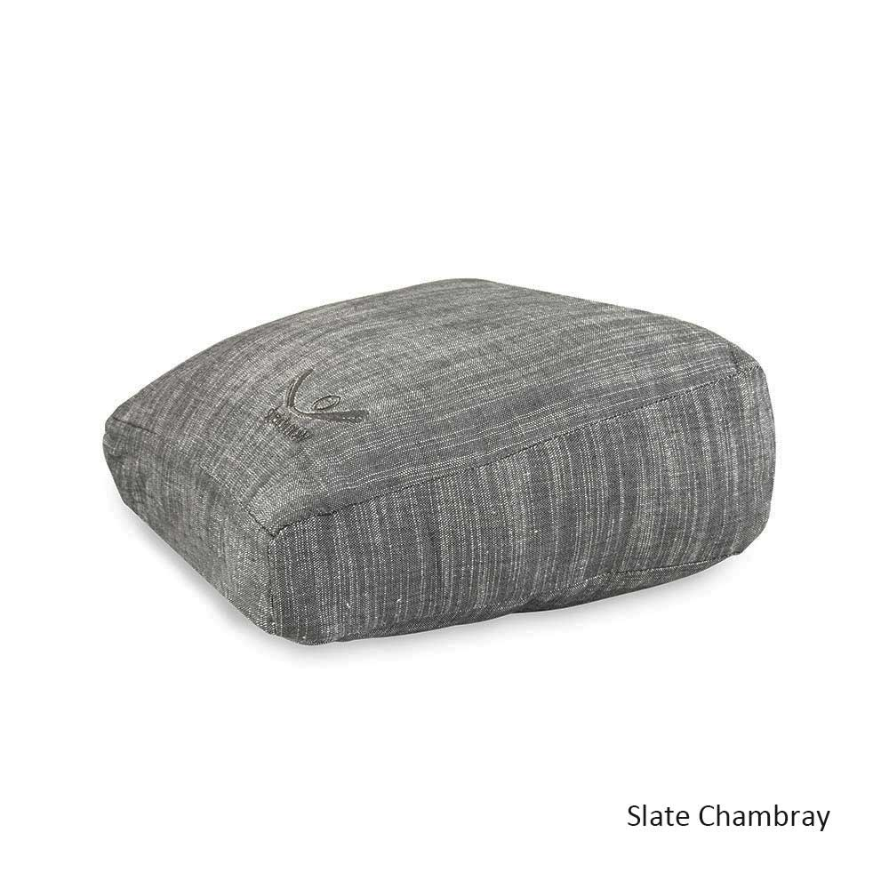 Meditation Cushion - Organic Cotton Square Zafu - Chambray