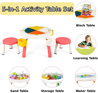 HL 5 in 1 Kids table and Chairs - Pink