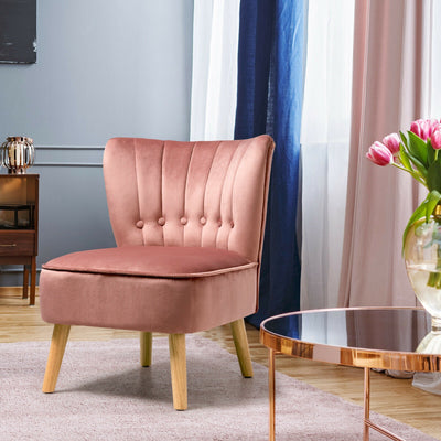HL Pink Soft Velvet Accent Chair with Oyster Shaped Back