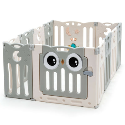 12 Panel Baby Playpen Kid's Foldable Baby Play Yard - Grey