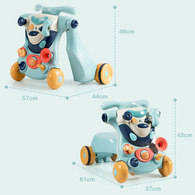 HLX 2-in-1 Sit-to-Stand Baby Walker with Toys - Blue