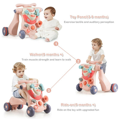 HLX 2-in-1 Sit-to-Stand Baby Walker with Toys - Pink
