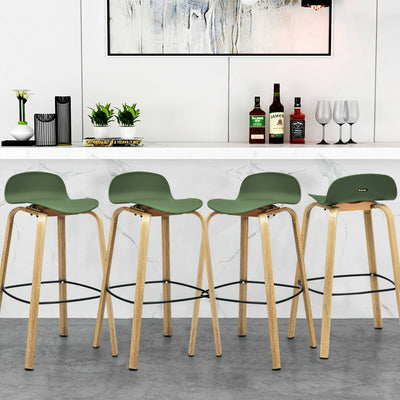 HL 2 Pcs Counter Green Bar Chairs High Stools with Footrest