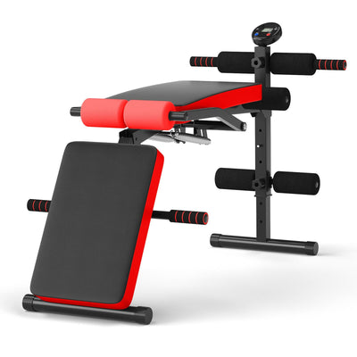 HL Adjustable Multi Weight Bench with LCD Screen - Red