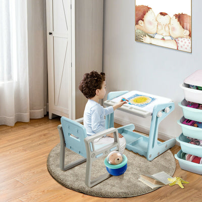 Magnetic Blue Kids Table and Chair Set/ Study Desk